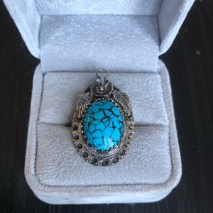 Jewelry - Faux Turquoise in Sterling Silver Pendant